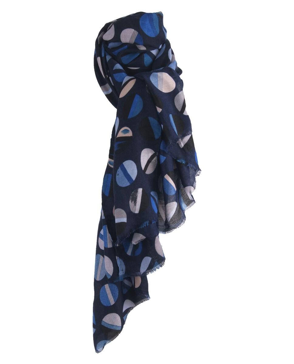 Donkerblauwe sjaal met cirkelprint