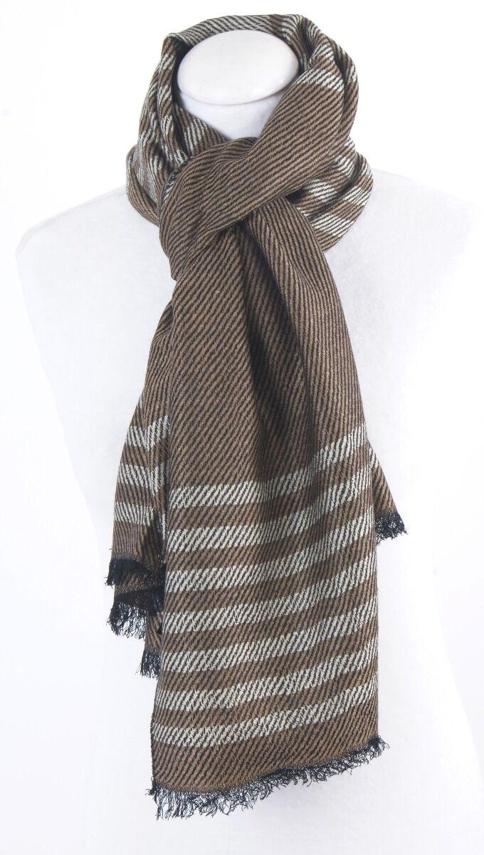 Beige sjaal met geweven met ivoorkleurige strepen