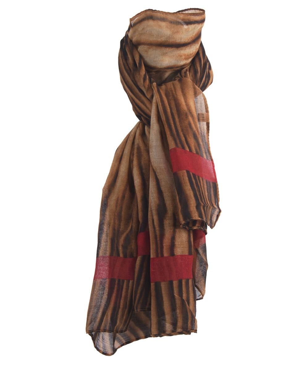 Luchtige tijgerprint sjaal in bruin en rood