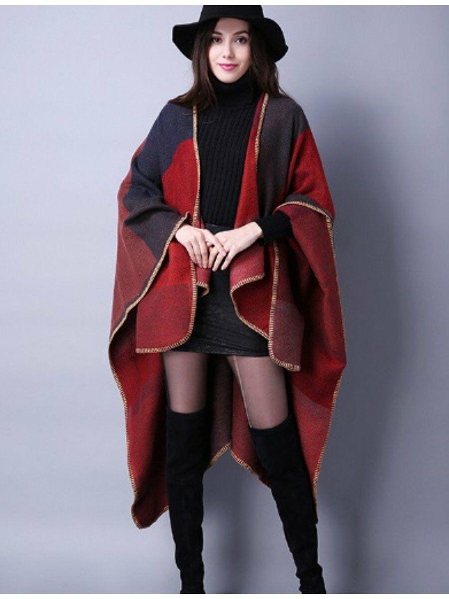 Blanket style colorblock cape in rood met taupe Dames > Omslagdoeken & Cape's maat  van  snel en voordelig in huis? Hier lukt het direct