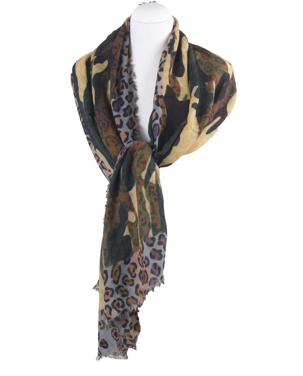 Wollen mousseline sjaal met camouflage- en panterprint
