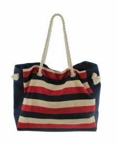 Strandtas met strepen in rood, ecru en blauw