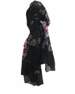 Luchtige zwarte sjaal met bloemenprint
