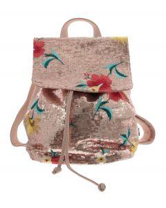Poederroze rugzakje met pailletten en bloemenborduursel