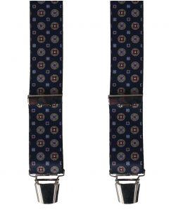 Bretels in donkerblauw met Oxford print
