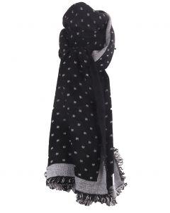 Fijn geweven sjaal in zwart met blokjes patroon in ecru