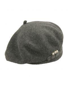 Grijs gemêleerde kasjmier-blend baret met pareltjes