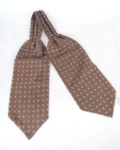 Middenbruine & wit/lichtgrijze cravat met paisley print