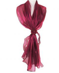 Ruby-roze organza stola met rozen corsage