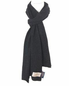 Fijngebreide antraciet kleurige kasjmier-blend sjaal