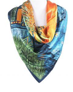 Satijnen sjaal met afbeelding van ''Terrasse du café le soir''