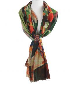 Sjaal met kleurrijke bloemenvaas schildering