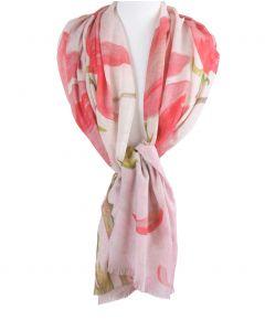 Sjaal met roze magnolia schildering