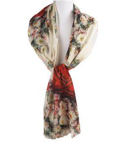 Ecru kleurige sjaal met een schildering van bloemenvazen