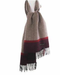 Beige visgraat geweven Alpaca wollen sjaal