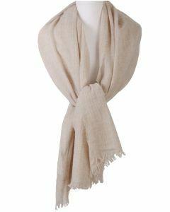Lichtbeige stola/sjaal van 100% kasjmier