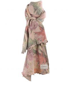 Beige kasjmiermix sjaal met bloemenprint
