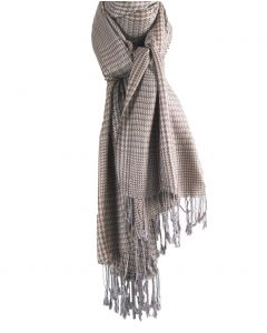 Beige pashmina sjaal met grijze ruit