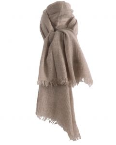 Beige geweven sjaal van 100% kasjmier