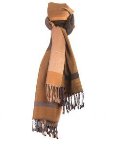 Pashmina sjaal met kleurvlakken in okergeel en grijs