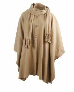 Camelkleurige fleece cape met knoopsluiting