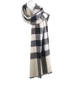 Ultra zachte omslagdoek/sjaal met ruiten in beige