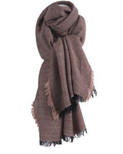 Alpaca-blend sjaal met rondom franjes in oudroze