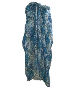 Blauwe crêpe voile sarong met bloemen print