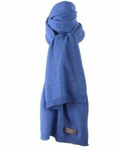 Blauw gemêleerde kasjmier-blend sjaal