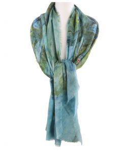 Wollen mousseline schilderij-sjaal met afbeelding van '' Waterlelies'' door Monet