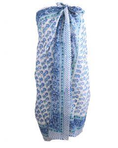 Sarong met floral print in mintgroen en blauw