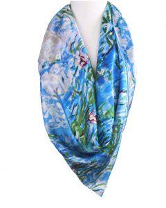 """Vierkante zijden sjaal met print van de """"Waterlelies"""" van Monet"""
