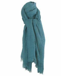 Zeegroene sjaal met rafel franjes