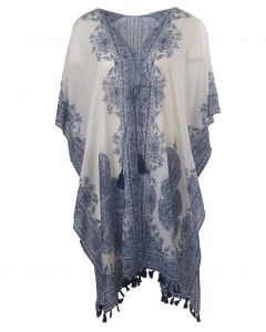Katoenen kimono in met paisley print in donkerblauw