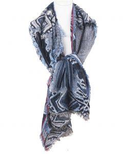 Dubbeldoeks franje pashmina-sjaal in tinten denimblauw