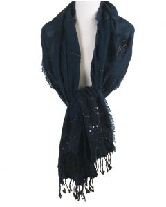 Zwart-petrol sjaal geborduurd met kralen