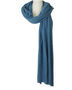 Blauw gemêleerde kasjmier-blend sjaal/omslagdoek