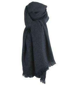 Donkerblauwe wol-blend sjaal met geweven stippen patroon
