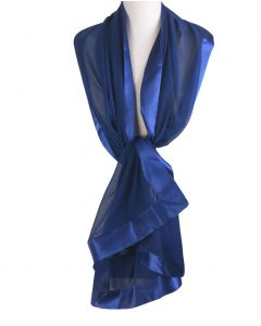 Kobaltblauwe zijden stola met satijnen rand
