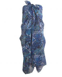 Blauwe sarong met tropische bladeren print