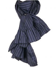 Donkergrijze sjaal met strepen in blauw