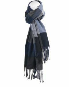 Zachte sjaal met ruiten in blauw en grijs