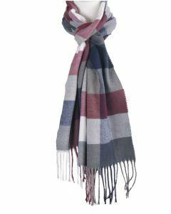 Zachte sjaal met ruiten in rood en blauw