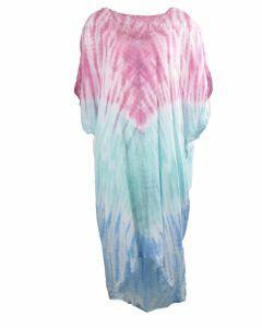 Jurk met tie dye print in roze en mintgroen