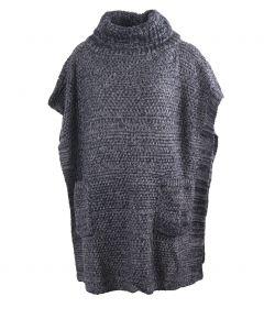 Gebreide poncho in donkerblauw-grijs gemixt