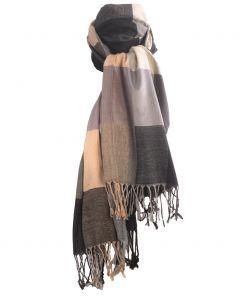 Pashmina sjaal met kleurvlakken in beige en grijs-tinten