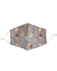 Katoenen verstelbaar mondkapje met bloemenprint in pastel-tinten