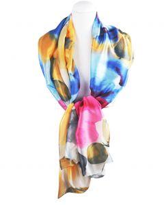 Zilvergrijze sjaal in zijdeblend met kleurrijke bloemenprint