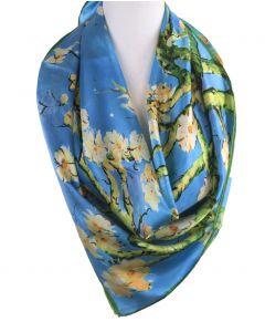 """Zijden sjaal met afbeelding van de """"Amandelbloesem'' van Gogh"""