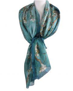 """Zijden sjaal/stola met afbeelding van de """"Amandelbloesem'' van Gogh"""